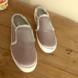Dirty Laundry silver satin slip-ons size 8.5